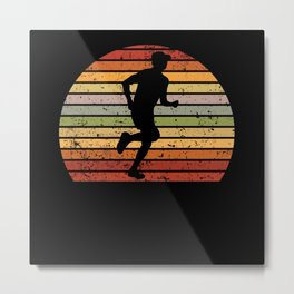 Running Marathon Running Retro Sunset Gift Idea Metal Print