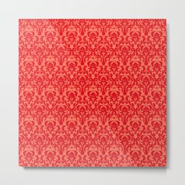 DAMASK | coral peach Metal Print