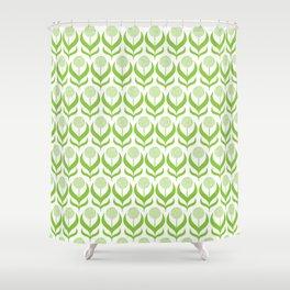 Modern Green Dandelions Floral Flower Pattern Shower Curtain