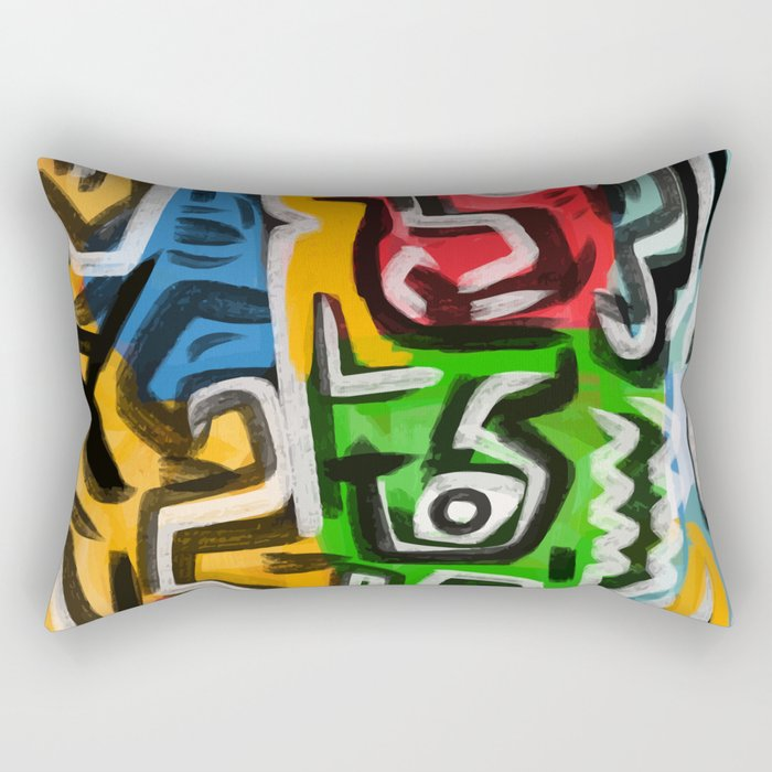 Primitive street art abstract Rectangular Pillow