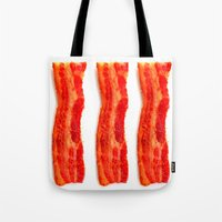 bacon Tote Bags featuring Bacon by Spotted Heart
