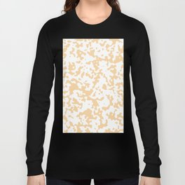 Spots - White and Sunset Orange Long Sleeve T-shirt