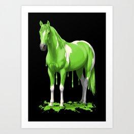 Neon Green Wet Paint Horse Art Print