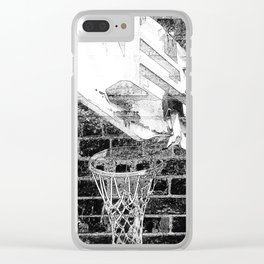 Black and white basketball artwork Clear iPhone Case