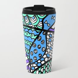 Doodle Art Drawing - Fishes and Waves - Blue Green Purple Travel Mug