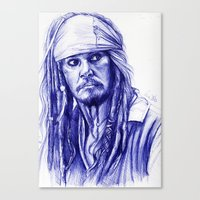 jack sparrow Canvas Prints featuring Jack Sparrow by Luna Perri