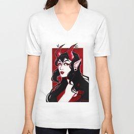 Red Demon Girl Unisex V-Neck