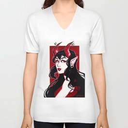Red Demon Girl Unisex V-Neck