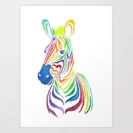 Watercolor Rainbow Zebra in Bold Art Print