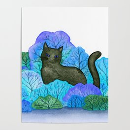 Blue Forest and Black Cat Watercolor Poster