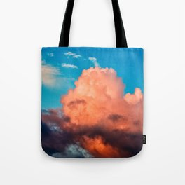 Pink And Dark Purple Cumulus Clouds, Blue Sky. Summer Evening Tote Bag