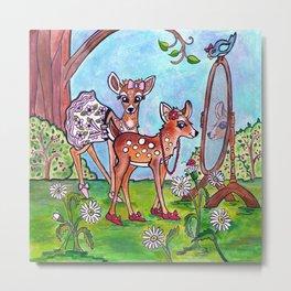 Sister Deer Metal Print