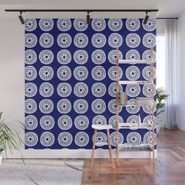Abstract circle hand carved stamp_blue and white Wall Mural