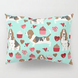 Basset Hound valentines day cute gifts for dog lover pet portrait dog breed custom illustration Pillow Sham