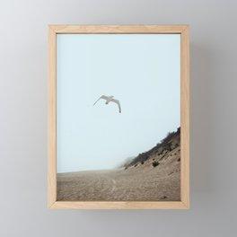 Gull and Foggy Beach Framed Mini Art Print