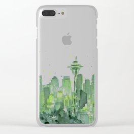 Seattle Watercolor Painting Clear iPhone Case
