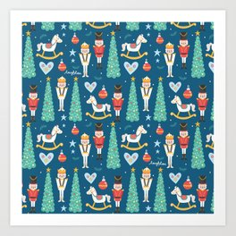 Nutcrackers under the Christmas Tree Art Print