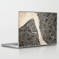 liverpool Laptop & iPad Skins featuring liverpool map ink lines by NJ-Illustrations
