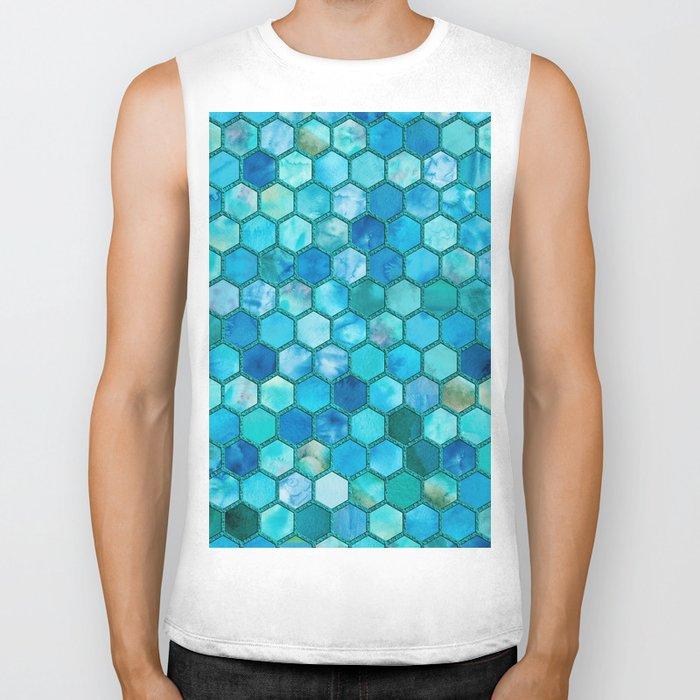 Blue aqua geometric hexagonal elegant & luxury pattern Biker Tank