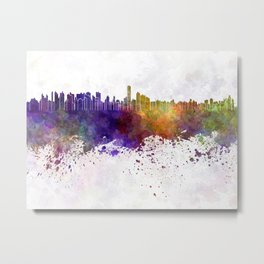 Asuncion skyline in watercolor background Metal Print