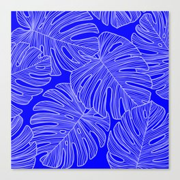 Cobalt Monstera Leaves Canvas Print