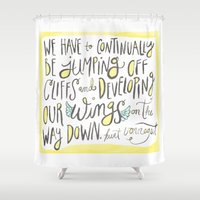 vonnegut Shower Curtains featuring jumping off cliffs - kurt vonnegut quote by Shaina Anderson