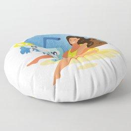 Summer Girls Clipart Set. No 2/4 Floor Pillow