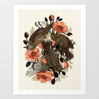 death Art Prints featuring Spangled & Plumed by Teagan White