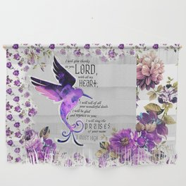Hummingbird Psalm 9:1-2 Scripture Purple Abstract Collage Art Wall Hanging