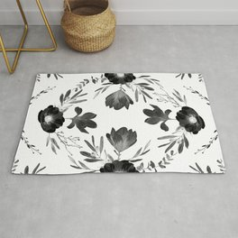 Floral Square Black & White Rug