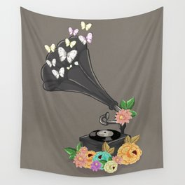 Gramaphone Bloom Wall Tapestry