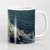 sailboat Mugs featuring sailboat by laika in cosmos