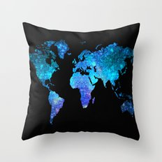 Space World map Throw Pillow