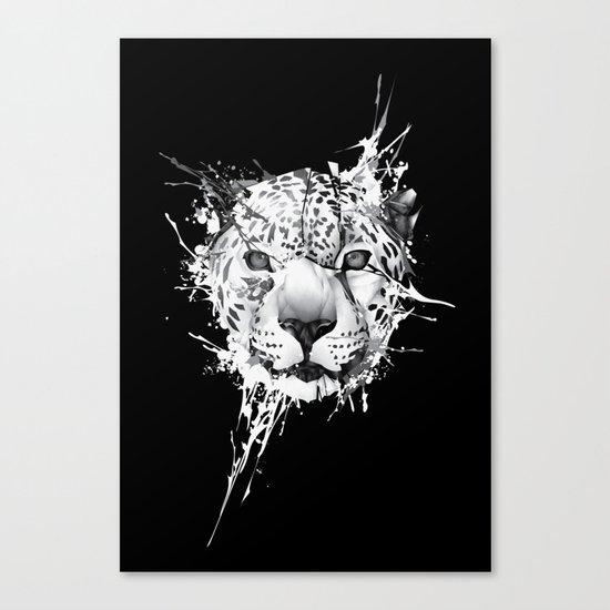 Leopard on black background Canvas Print