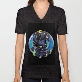 Baby Toothless Night Fury Dragon Watercolor black bg Unisex V-Neck