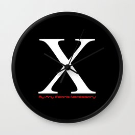 X - By Any Means Necessary Malcolm X Motif Wall Clock
