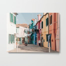 Laundry in Colorful Burano in Italy (Europe)   City Travel Photography Metal Print