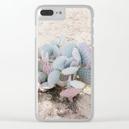 Pink and Mint Cactus Clear iPhone Case