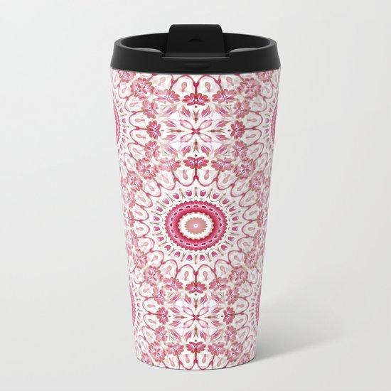 Pink White Floral Mandala Metal Travel Mug