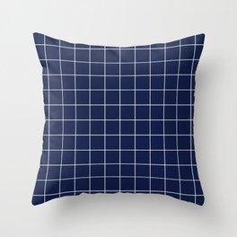 Navy Blue Grid Lines Minimal Throw Pillow