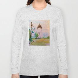 East Chop (Telegraph Hill) Lighthouse Martha's Vineyard Watercolor Long Sleeve T-shirt