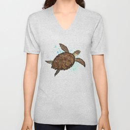 """Hawksbill Sea Turtle"" by Amber Marine ~ Watercolor & Sea Salt Painting, (Copyright 2016) Unisex V-Neck"