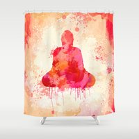 buddhism Shower Curtains featuring Red Buddha Watercolor art by Thubakabra