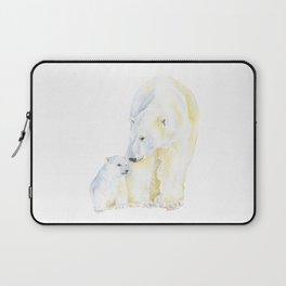 Mother and Baby Polar Bears Watercolor Laptop Sleeve