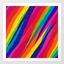 Wonky Rainbow Stripes Art Print