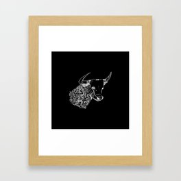 TAURUS - inverted bull - zodiac doodle series abstract Art Print Framed Art Print