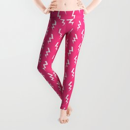 Bolts lightening bolt pattern pink and white minimal cute patterned gifts Leggings