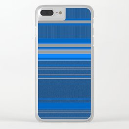 Bright Blues with Grey Stripes Clear iPhone Case