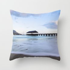 Hanalei Bay Pier at Sunrise Throw Pillow