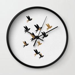 Origami Birds Collage II, Bird Decor Wall Clock